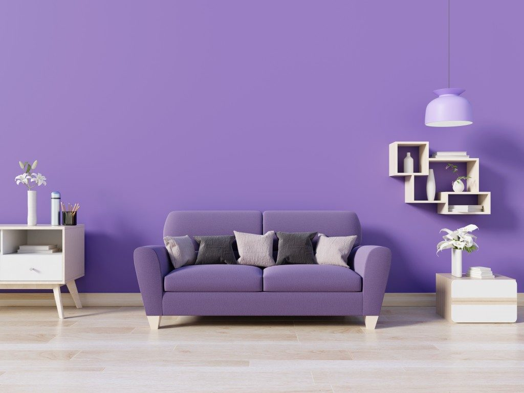 living room with purple wall