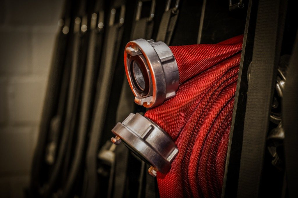 rolled up fire hose