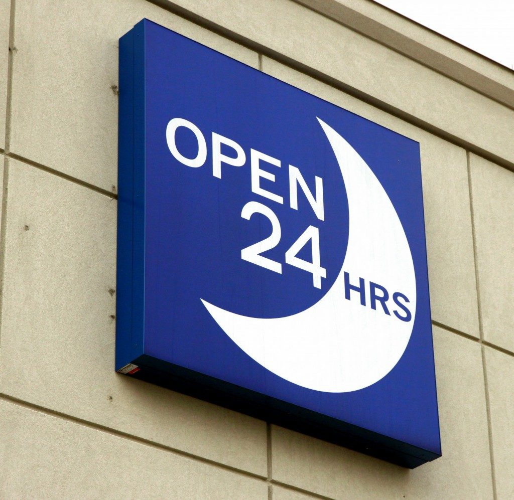 open 24 hours sign in a store