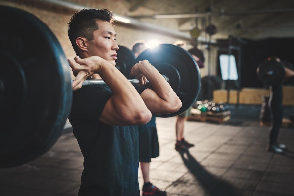 man doing front squats