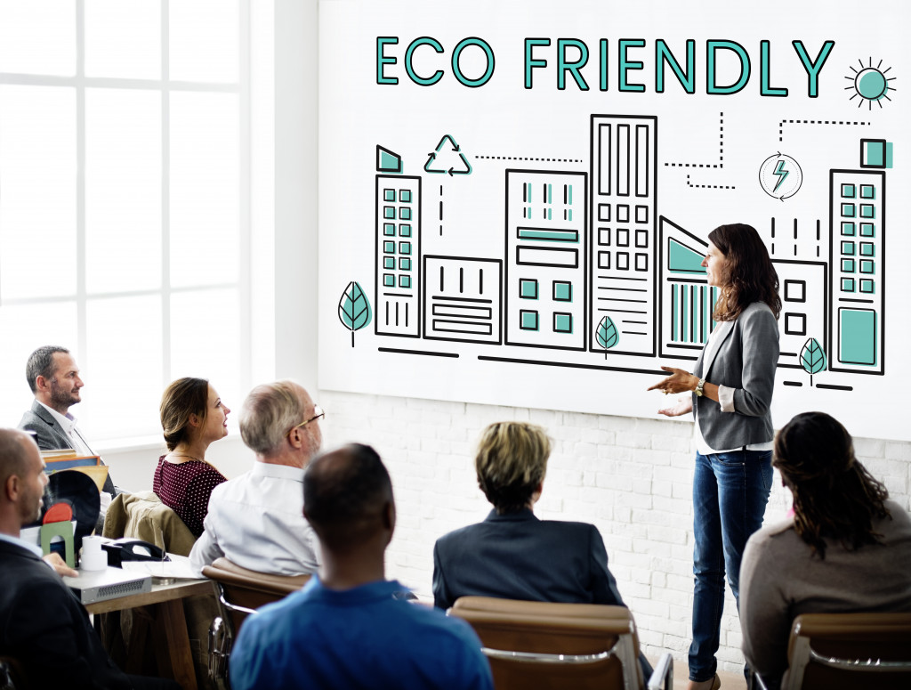 discussing eco-friendly topics to audience