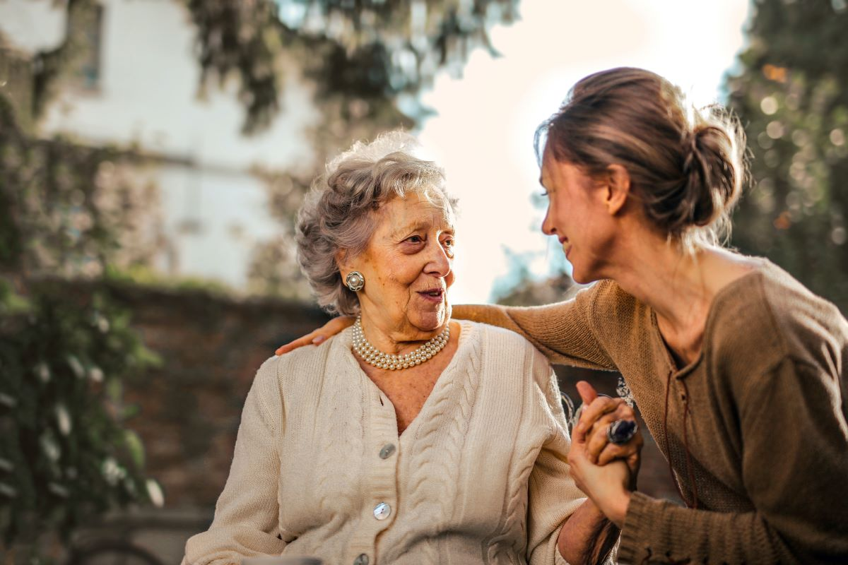 taking care of elder woman