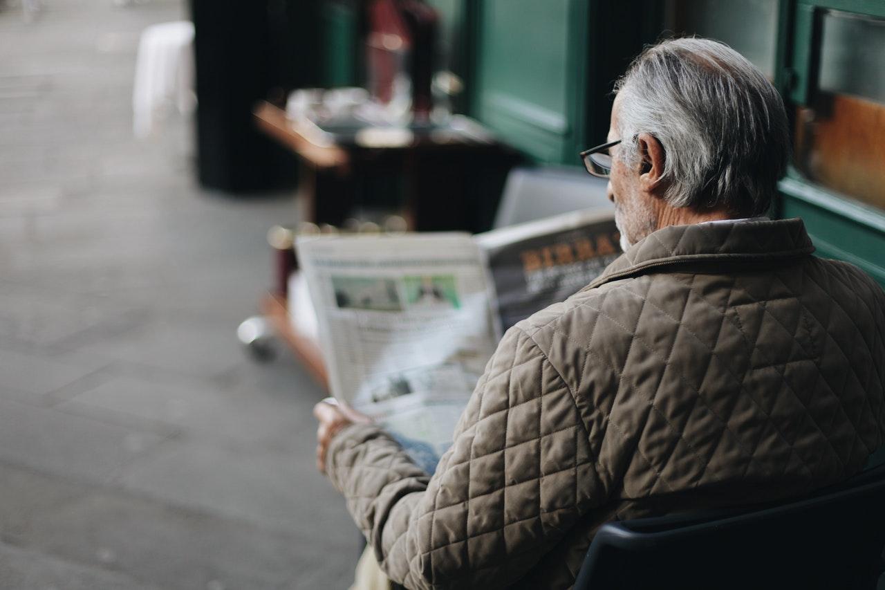 elderly reading