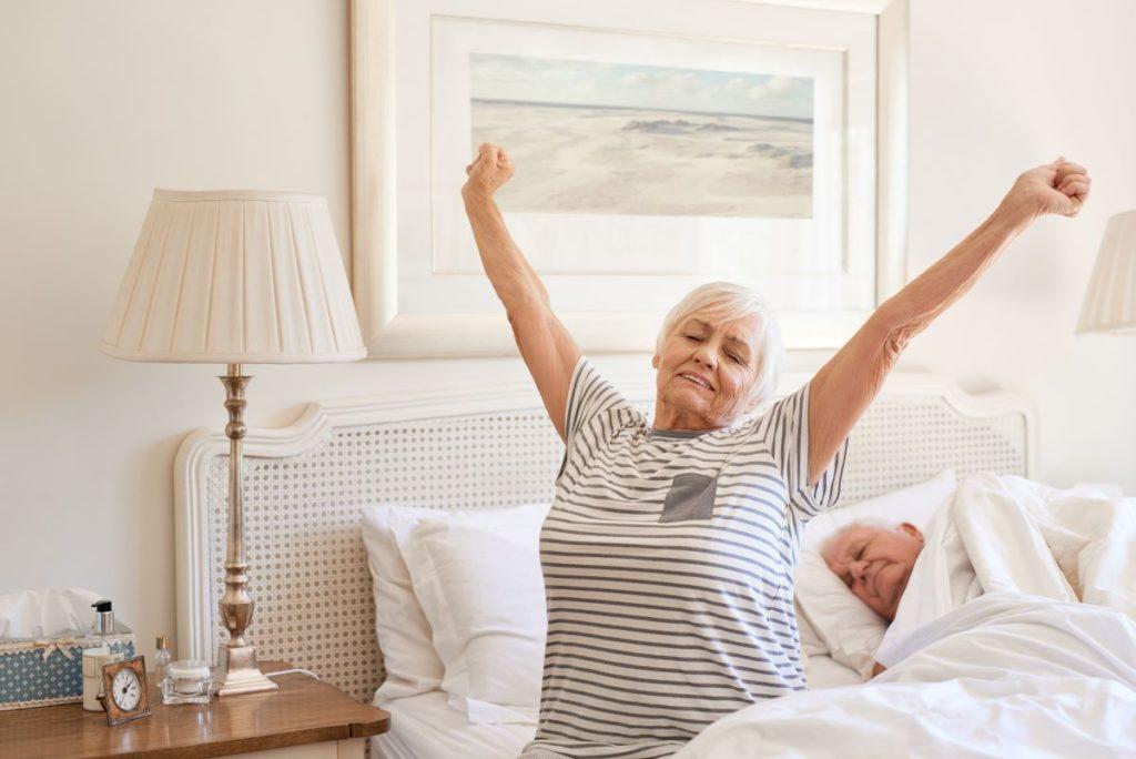 senior woman waking up