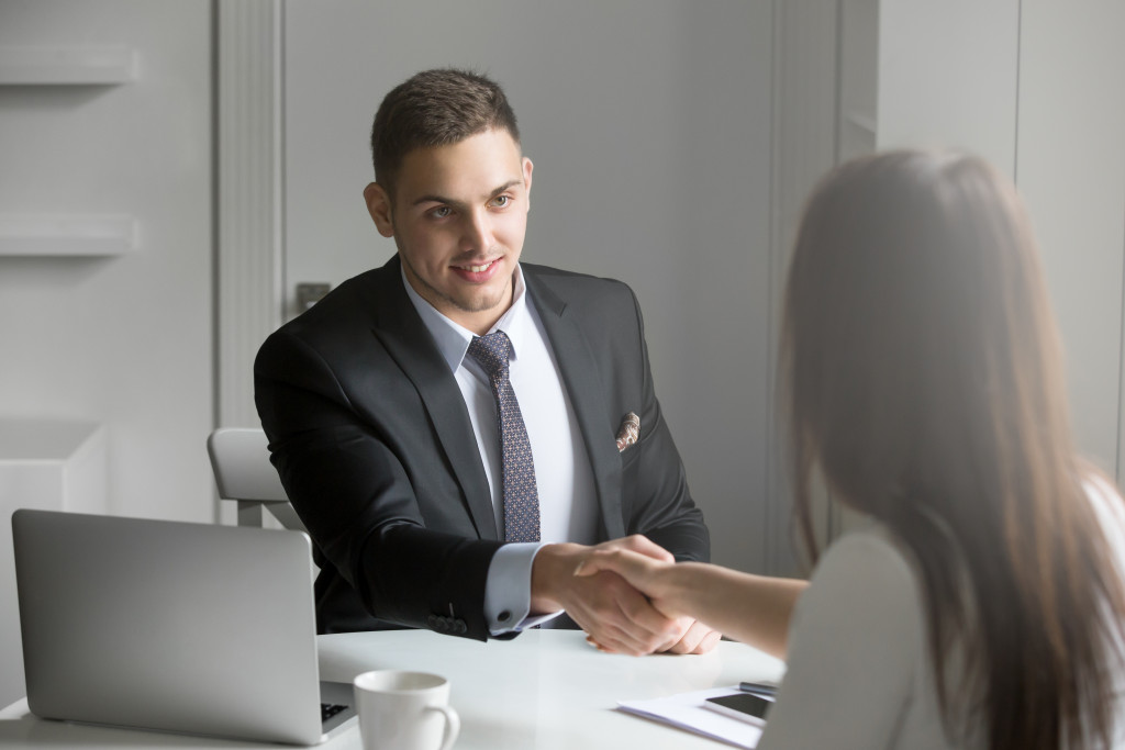 woman being hired